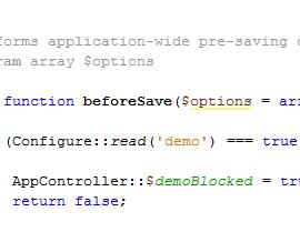 CakePHP Demo-Code Screenshot